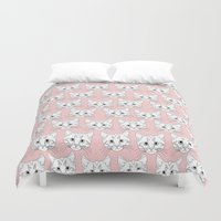 a lot of cats Duvet Covers featuring a lot of cats by galactikat