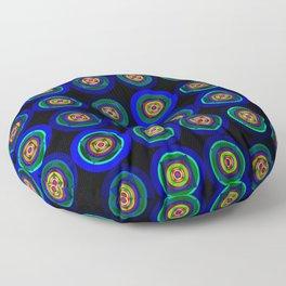 6x6 004 - blue abstract geometric pattern Floor Pillow