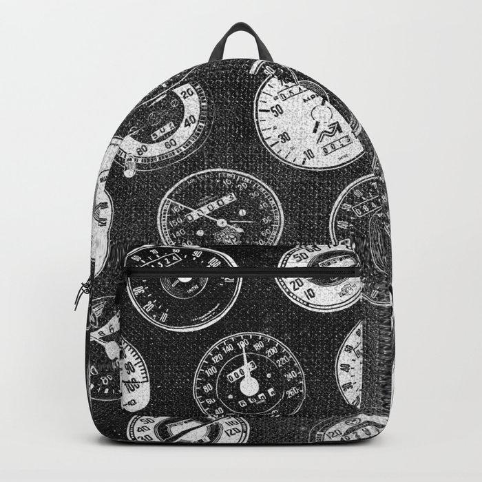 Dark Vintage Motorcycle Speedometers Backpack