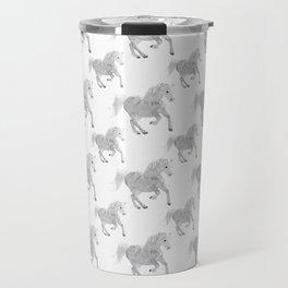 White Horse Pattern Travel Mug