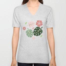 Tropical leaves Aqua paradise #homedecor #apparel #tropical Unisex V-Neck