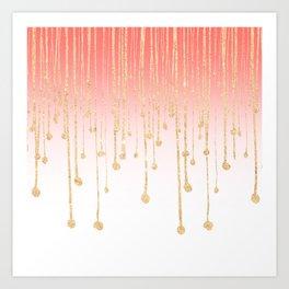 Color block coral faux gold glitter waterdrops ombre Kunstdrucke