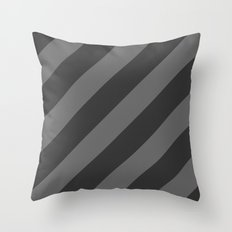 Stripes Diagonal Black & Gray Throw Pillow
