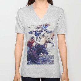 Horse Racing Cowgirls Unisex V-Neck