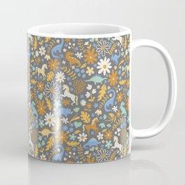 Dinosaur + Unicorns in Blue + Umber Coffee Mug