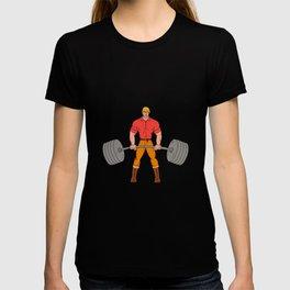 Buffed Lumberjack Lifting Weights Cartoon T-shirt
