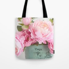Paris Pink Peonies Bouquet Tote Bag
