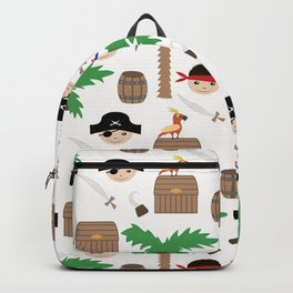 Seamless pirate colorful kids retro background pattern Backpack
