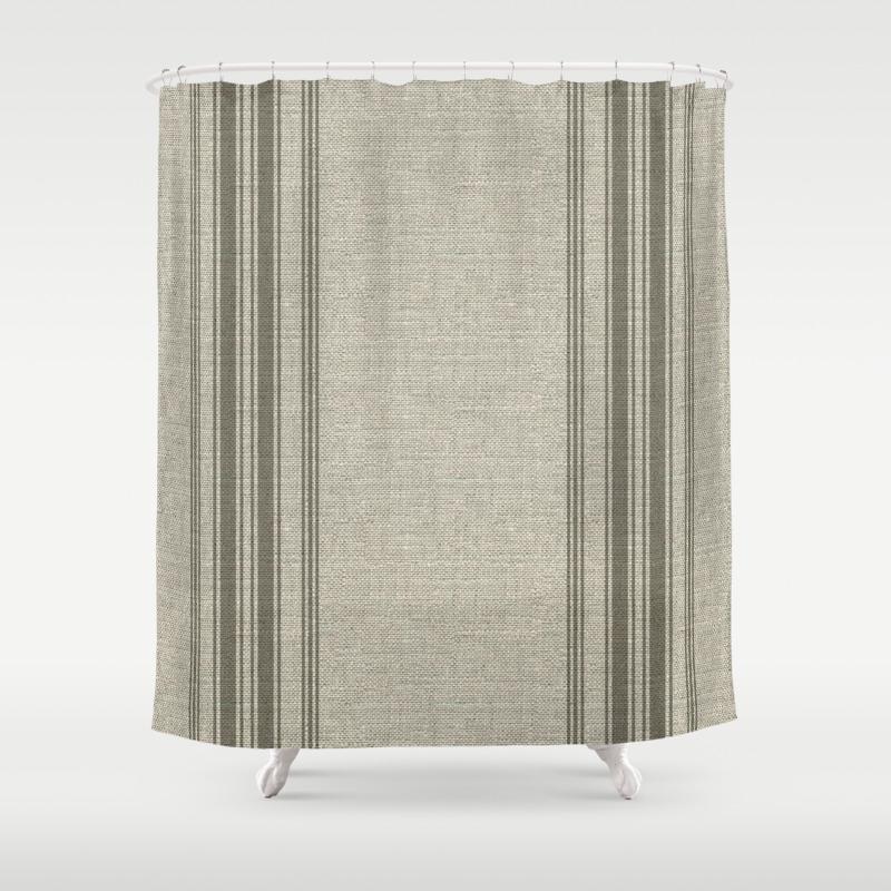 Farmhouse Linen Beige Rustic Grain Sack Texture Vintage Farmhouse Lined Linen Design Modern Rustic Shower Curtain