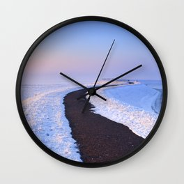 I - Lake and dike at sunrise in winter in The Netherlands Wall Clock