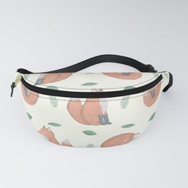 Foxes on Cream Background Fanny Pack