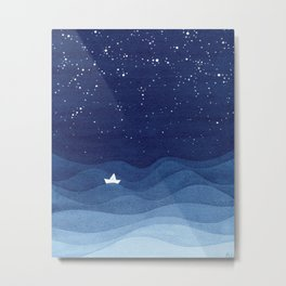 blue ocean waves, sailboat ocean stars Metal Print