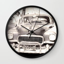 Mom and her Antique Car  Wall Clock