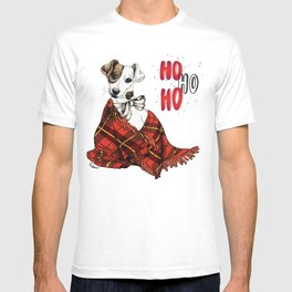 Hand Drawn Jack Russell Terrier Dog Portrait Snuggled in Plaid Blanket T-shirt