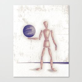 Man With A Globe Canvas Print