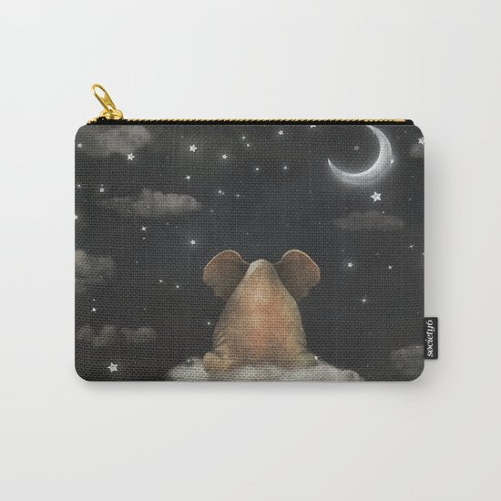 Sad elephant sitting on cloud in  night sky  Carry-All Pouch