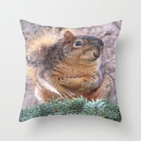 squirrel Throw Pillows featuring Squirrel by Sarahpea