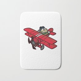 RED BARON AIR PILOT biplane airplane cartoon Bath Mat