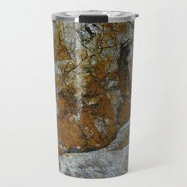 Cornish Headland Cracked Rock Texture with Lichen Travel Mug