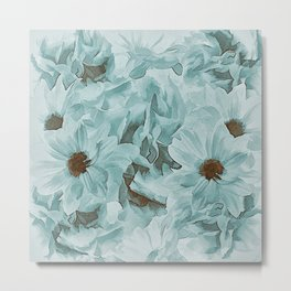 Soft Slate Blue Floral Abstract Metal Print
