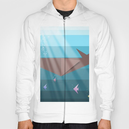 LIVING SEA (origami animals whales) Hoody