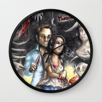 abigail larson Wall Clocks featuring Gareth and Abigail by Furiarossa