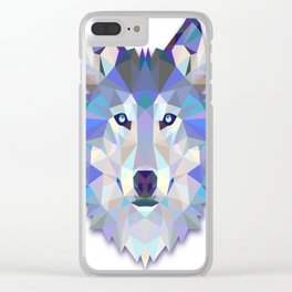 Colorful Wolf Clear iPhone Case