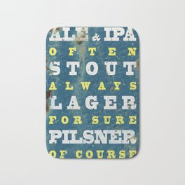 Beer always, vintage poster, metal texture background Bath Mat