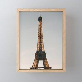 Eiffel Tower at dusk, Paris sunset   Classic Parisian travel photography, iconic travel prints to inspire   Saige Ashton Prints Framed Mini Art Print