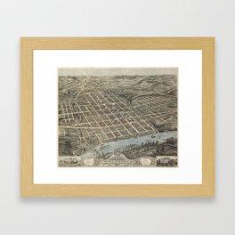 Vintage Pictorial Map of Knoxville (1871) Framed Art Print