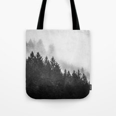 Fog Forest - Black and White Mountain Trees Tote Bag
