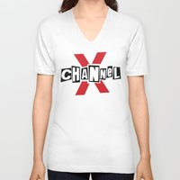 channel V-neck T-shirts featuring Channel X by Popp Art