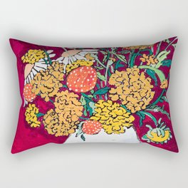 Marigold, Daisy and Wildflower Bouquet Fall Floral Still Life Painting on Eggplant Purple Rectangular Pillow