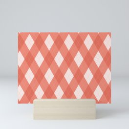 Pantone Living Coral Argyle Plaid, Diamond Pattern Mini Art Print