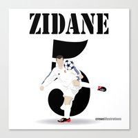 zidane Canvas Prints featuring Zidane 5 by Crewe Illustrations