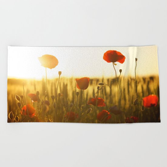 Sunset tulipe Beach Towel