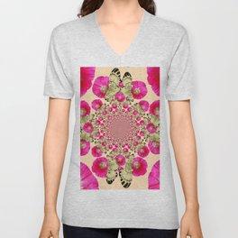 modern art cerise pink hollyhock & yellow butterflies Unisex V-Neck