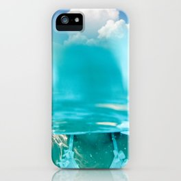 Little girl in water, with clouds iPhone Case