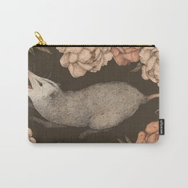 The Opossum and Peonies Carry-All Pouch