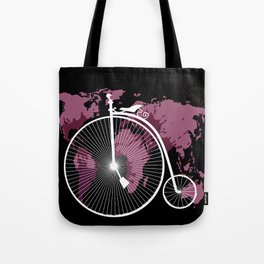 bicycle over textured world map Tote Bag
