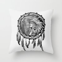dream catcher Throw Pillows featuring Dream Catcher by Astrablink7