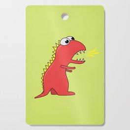 Cute Cartoon Dinosaur With Fire Breath Cutting Board