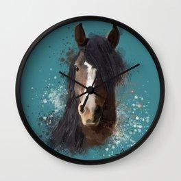 Black Brown Horse Artwork Wall Clock