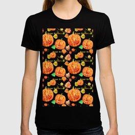 Watercolor Halloween Pumpkin Pattern T-shirt