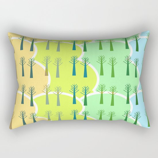 Trees and colorful clouds Rectangular Pillow