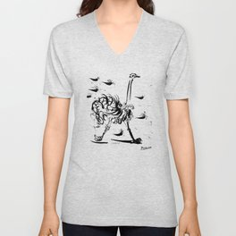 Pablo Picasso Ostrich Artwork T Shirt, Reproduction Sketch Unisex V-Neck