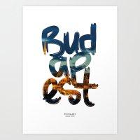 budapest Art Prints featuring Budapest by Mapa Barragan