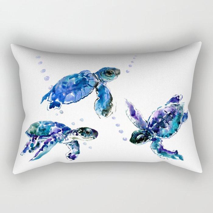Three Sea Turtles, Marine Blue Aquatic design Rectangular Pillow