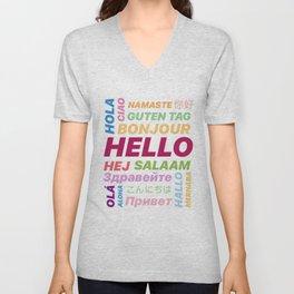 "Multilingual ""Hello"" Digital Art Unisex V-Neck"
