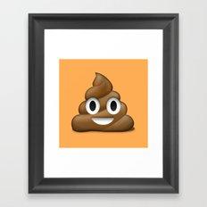 Smiling Poo Emoji (Colored Background) Framed Art Print
